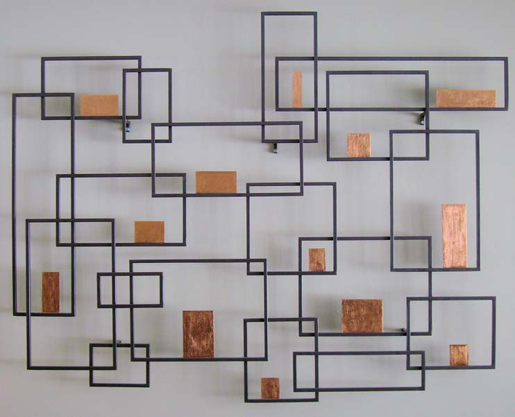 Square Metal Wall Art adorning metal